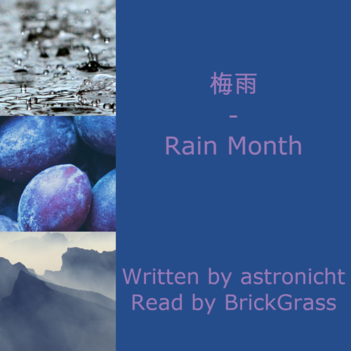 Podfic coverart. The left third of the image has three images stacked: rain falling on the ground, some plums and foggy blue mountains. The right two thirds has a blue background with plum purple text that says: '梅雨 | rain month, Written by astronicht, Read by BrickGrass'.